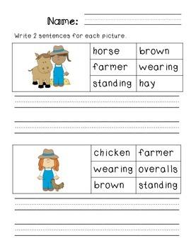 First Grade Sentence Writing Pack- Farm Theme