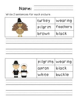 First Grade Sentence Writing Pack- Thanksgiving Theme