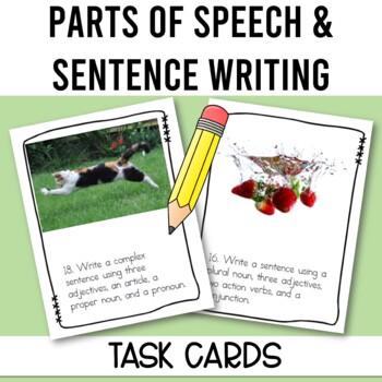 Sentence Writing Parts of Speech Task Cards - Grammar Review