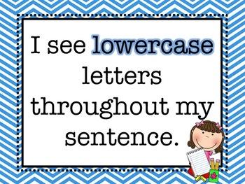 Sentence Writing Posters- Blue Chevron Theme- K, 1st, 2nd
