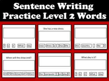 Sentence Writing Practice- Cut and Paste Level 2