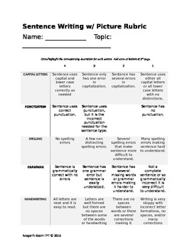 Sentence Writing Rubric (with and without picture)