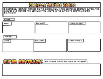 Sentence Writing Station