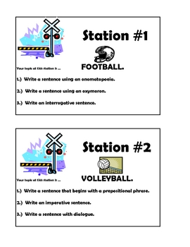 Sentence Writing Task Cards #1 - Common Core Practice