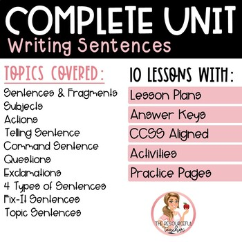 Writing a Sentence Complete Unit with Lesson Plans, Activities, and Answer Keys