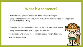 Sentence Writing Unit: with 2 Power Point Presentations