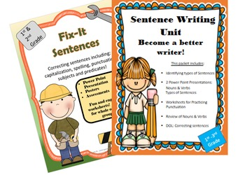 Sentence Writing Unit: with 2 Power Point Presentations Pl