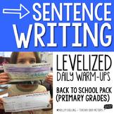 Sentence Writing Warm-Ups (Back to School)