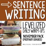 Sentence Writing Warm-Ups (November)