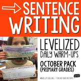 Sentence Writing Warm Ups (October)