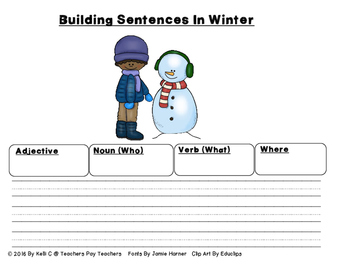 Sentence Writing- Winter Edition (Using Adjectives, Nouns, Verbs and Setting)