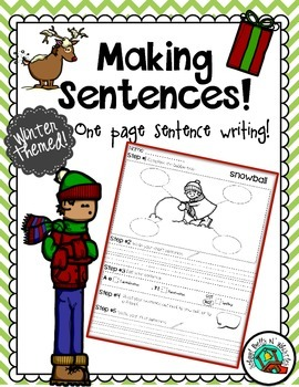 Winter Themed one page sentence writing process