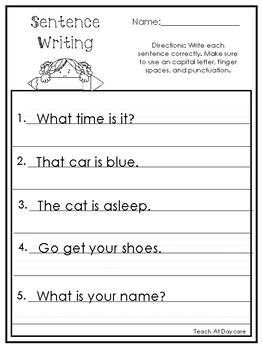 Sentence Writing Worksheets. Copy the Sentences Practice ...