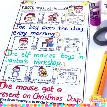 Sentence Writing for Christmas Cut and Paste Sentence Structure Who, What, Where