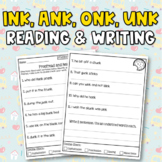 Glued Sounds (ink, ank, onk, unk) Worksheets