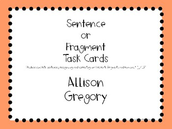 Sentence and Fragment Task Cards PDF