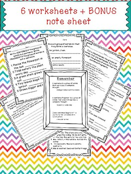 Sentence and Fragments Worksheet Bundle