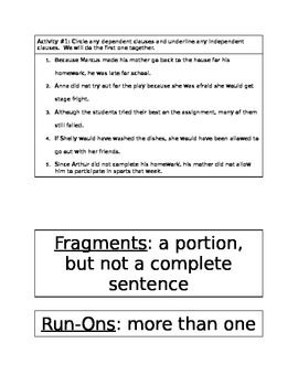 Sentence and Paragraph Writing Review