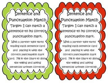 Sentence and Punctuation Matching Game