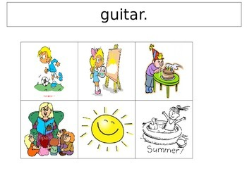 Sentence and picture comprehension sentence strips