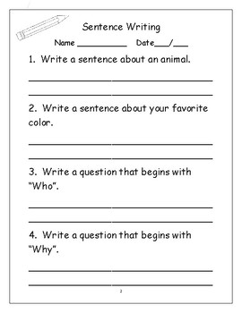 Sentence and question writing/Daily Practice Sheets