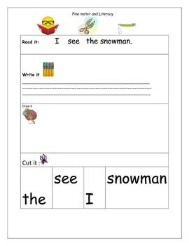Seasonal sentences to cut , paste and write