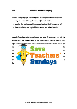 Sentence construction and Using different conjunctions worksheets
