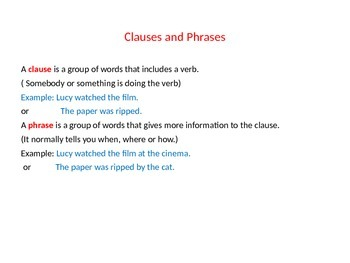 Sentence definitions clauses and phrases