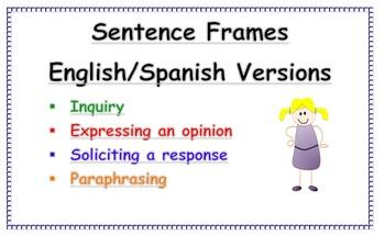 Sentence Frames Anchor Charts (English and Spanish)