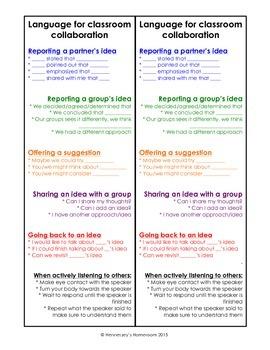 Sentence frames for Classroom Collaboration