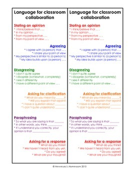 Sentence frames for Classroom Collaboration