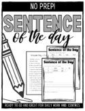 NO PREP: Sentence of the Day Activity