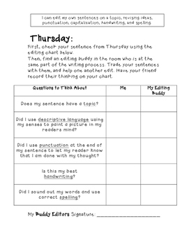 Sentence of the Week- Narrative Edition (Differentiated-K & 1st CCSS Aligned)