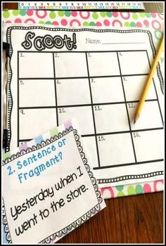 Sentence or Fragment? SCOOT! Game, Task Cards or Assessment