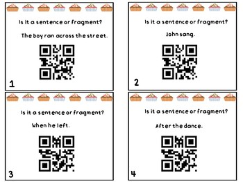 Sentence or Fragment Task Cards with QR Scan Codes