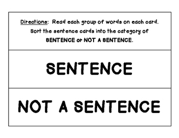 Sentence or Not Sorting Center - No Prep!  Language Arts / Beginning of the Year