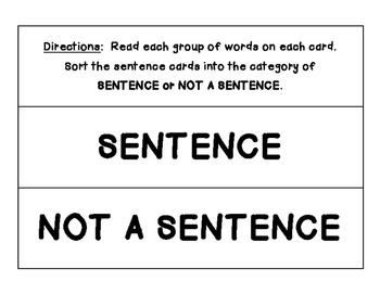 Sentence or Not Sorting Center - No Prep!  Language Arts /