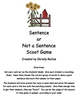 Sentence or Not a Sentence Scoot Game