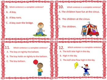 Sentence or Not a Sentence Task Cards