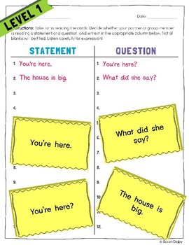 """""""Statement or Question?"""" – Leveled Punctuation and Reading/Writing Game"""