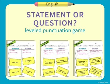 """""""Statement or Question?"""" – Leveled Punctuation and Reading"""