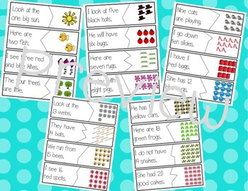 Sentence puzzle with numbers, colors, and sight words