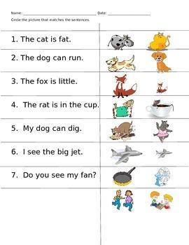 Sentence reading/comprehension Assessment