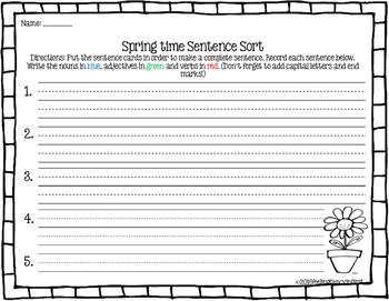 Sentence scramble- Spring Time
