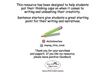 Sentence starters for classroom writing