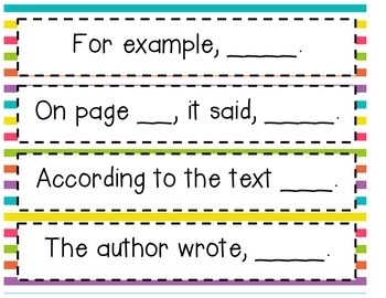 Sentence starters to justify math and text-based answers