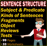 Sentence structure | Subject and Predicate |Grammar Worksheets and Assessments