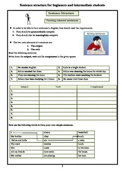 Sentence structure for beginners and intermediate students