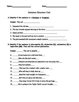 Sentence structure Test