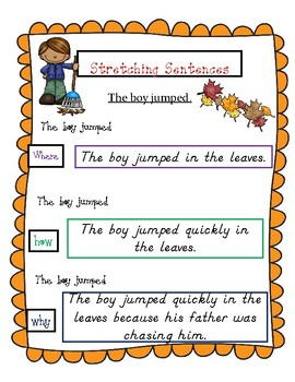 Fall Strong Sentences and Writing Prompts (For Struggling Writers)
